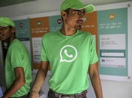 Man wearing whatsapp tshirt