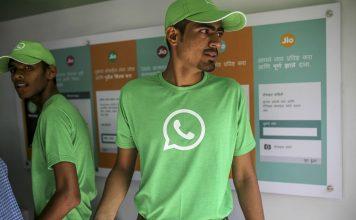Man wearing whatsapp tshirt
