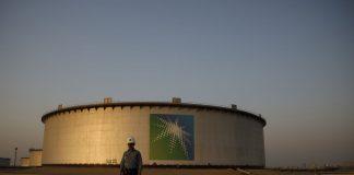 Saudi Aramco logo in saudi oilfield