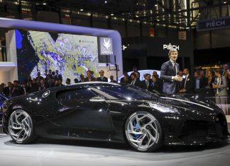 Stephan Winkelmann, chief executive officer of Bugatti Automobiles SAS, introduces the Bugatti La Voiture Noire ultra luxury automobile