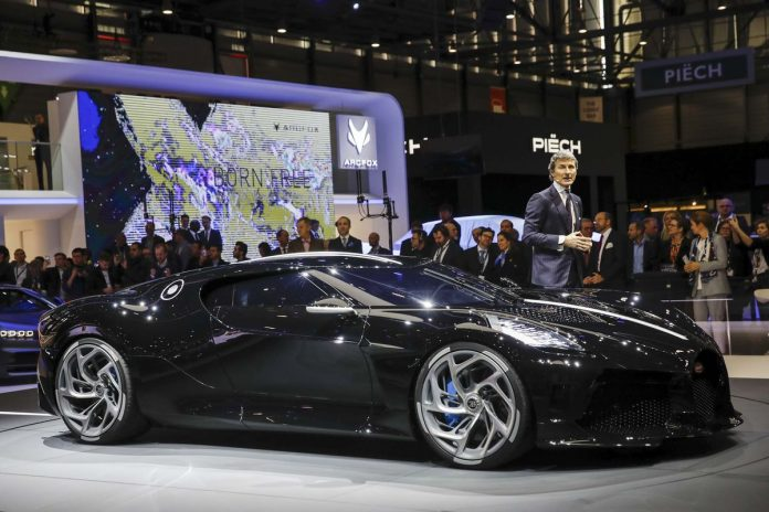 Stephan Winkelmann, chief executive officer of Bugatti Automobiles SAS, introduces the Bugatti La Voiture Noire ultra luxury automobile