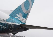 The tail of a Boeing Co. 737 Max 9