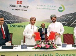 Nailesh Khimji, Director, Khimji Ramdas and Abdulla Nasser Al Saidi, CEO, Nafath Renewable Energy. Partnership announcement of Oman's first 1MW solar PV system.