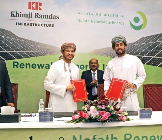 Nailesh Khimji, Director, Khimji Ramdas and Abdulla Nasser Al Saidi, CEO, Nafath Renewable Energy. Partnership announcement of Oman's first 1MW solar PV system.