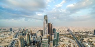 Skyscrapers stand in the King Abdullah financial district in Riyadh