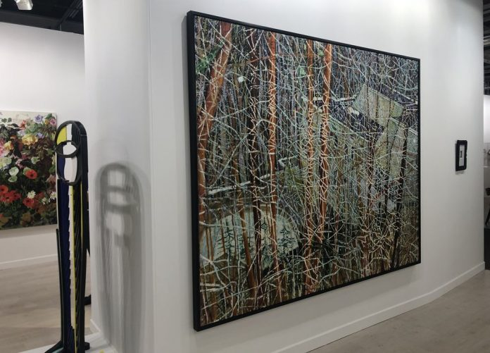 """Peter Doig's """"The Architect's Home in the Ravine"""" fetched $20 million at Sotheby's, the landscape is back on the market; art basel; painting;"""