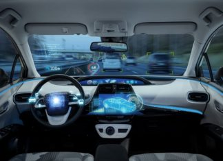 futuristic image of autonomous car; robocar