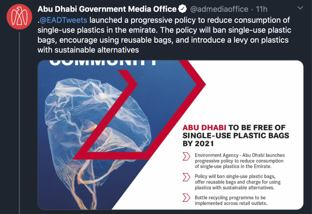 New Policy Sees Ban Of Single-Use Plastic Bags in Abu Dhabi by 2021