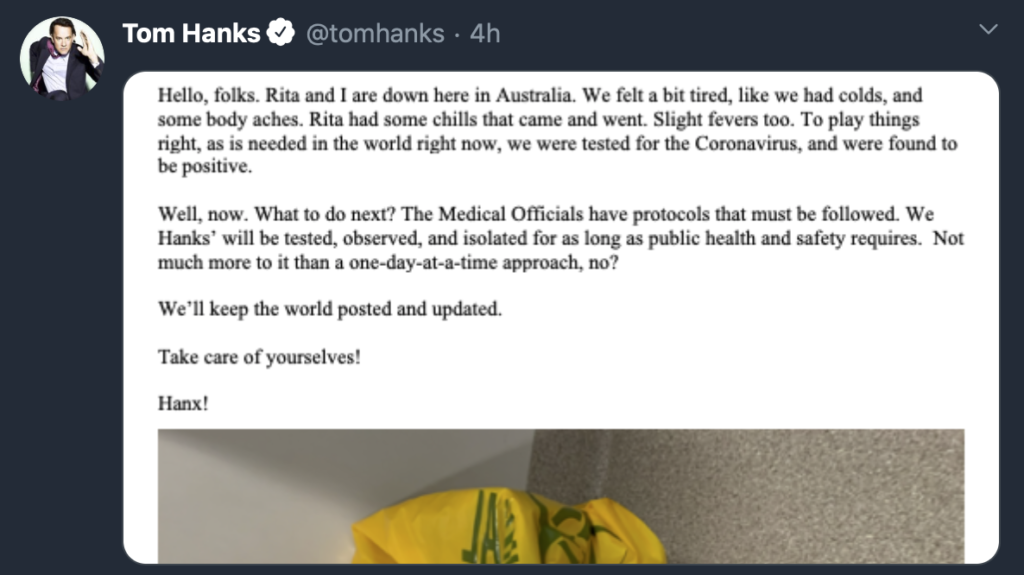 Sleepless in Australia: Tom Hanks, Rita Wilson Have Coronavirus