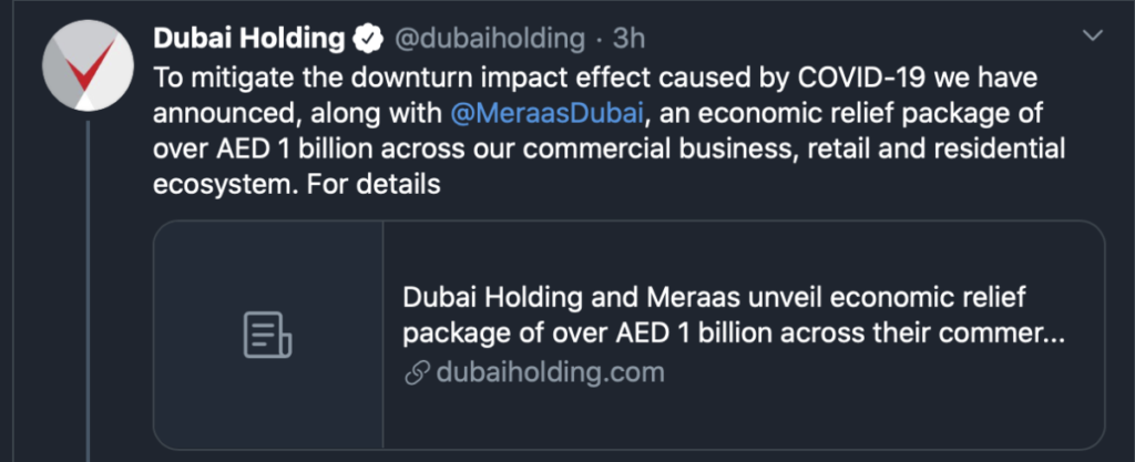 Coronavirus Impact: Aldar Properties, Dubai Holdings, Meraas Roll Out Relief Initiatives
