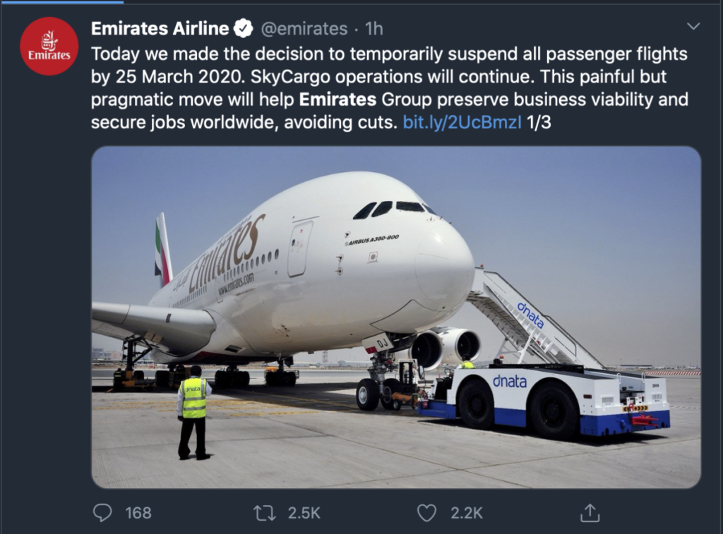 Most Emirates Passenger Flights Suspended from March 25; No Job Cuts