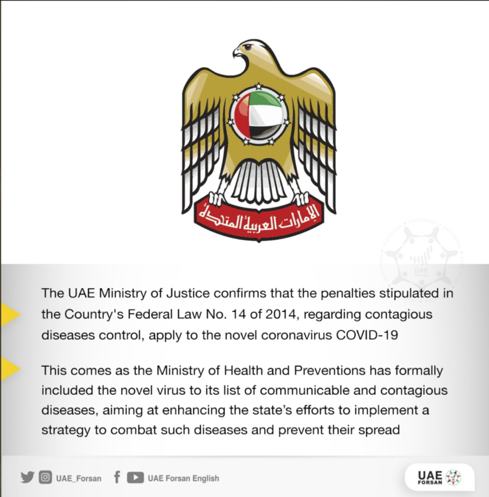 Covid-19 Is Now Included Under UAE Law On Communicable Diseases
