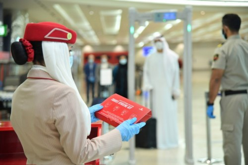 Emirates has introduced complimentary hygiene kits to be given to every passenger upon check in at Dubai International Airport and on flights to Dubai. These kits comprise of masks, gloves, antibacterial wipes and hand sanitiser.