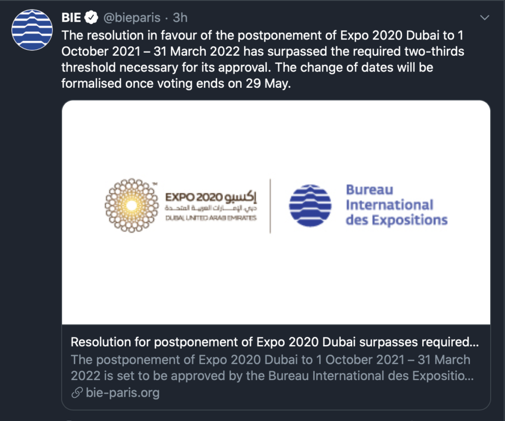 Expo Dubai To Be Held from Oct. 1, 2021 - Mar.31, 2022