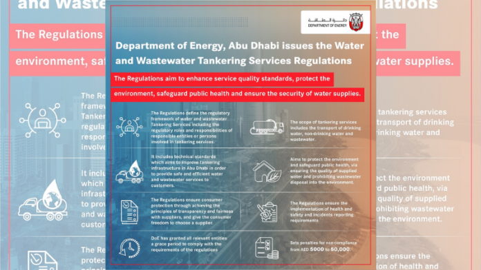 Abu Dhabi Department of Energy issues Tankering Regulations for water tanker and wastewater services